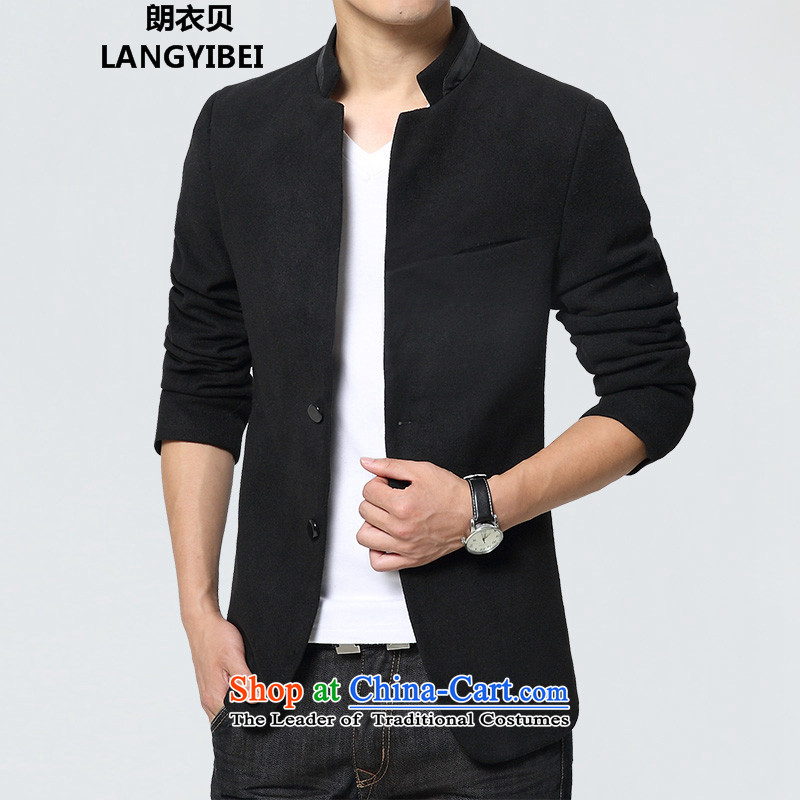 Yuen Long Yi Addis Ababa 2015 autumn and winter Chinese tunic suit the new Small Business suit male Sau San Korean male Chinese tunic jacket leisure black?L