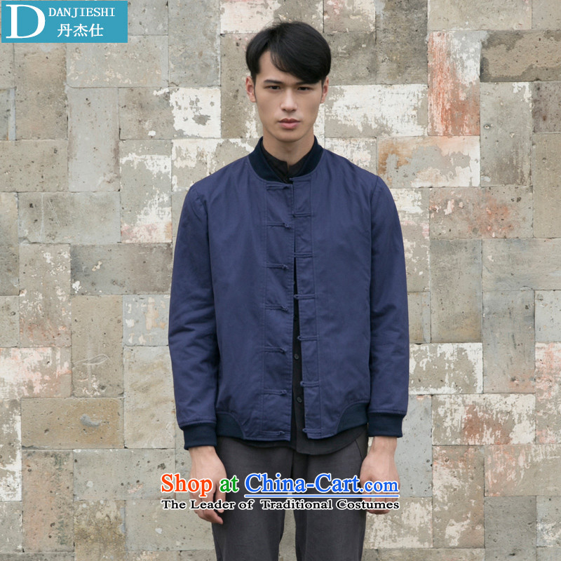 Dan Jie Shi Tang dynasty China wind retro men pure cotton jacket Navy detained disk聽S