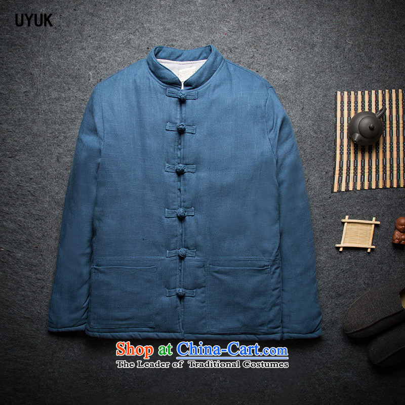 Tang dynasty China UYUK2015 winter wind up the clip cotton coat Chinese retro-thick cotton robe winter coats Male Male Peacock Blue聽L