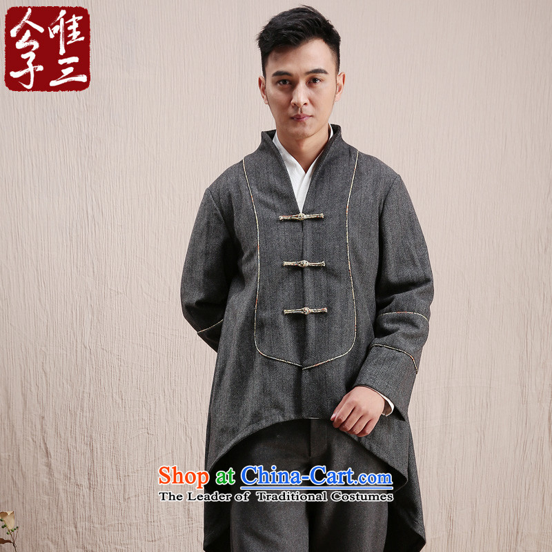 Cd 3 model 翰林学士 China wind wool a long gown, a mantle gowns Tang Dynasty Chinese winter coats Dark Gray Movement XXL