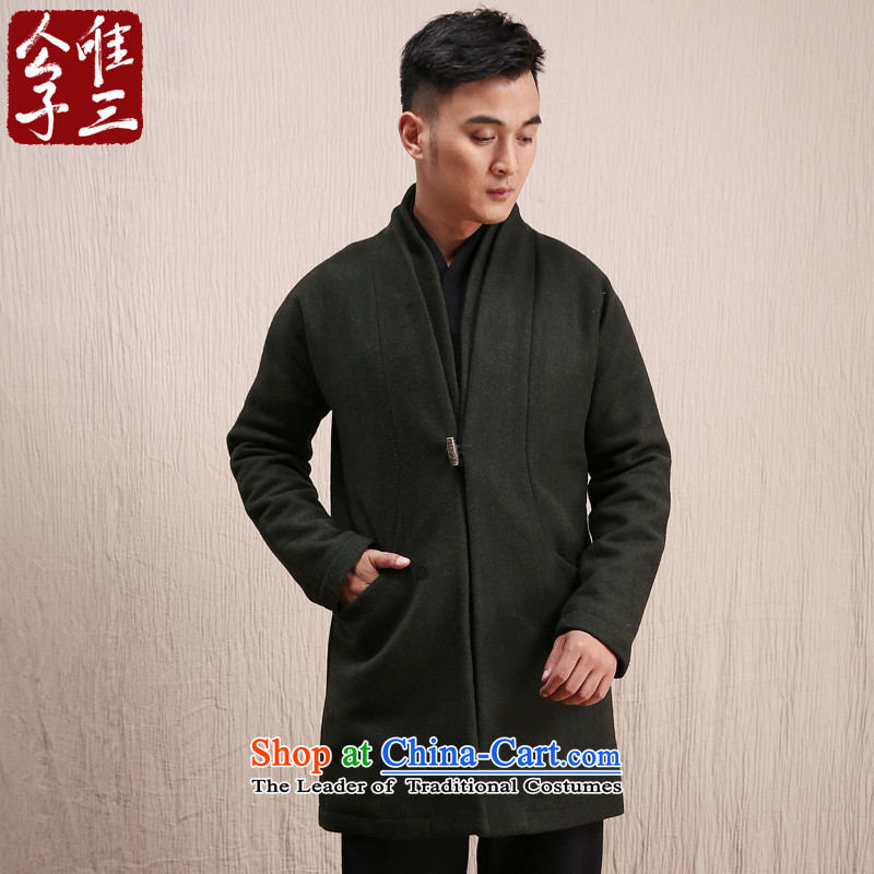 Cd 3 Model Han Royal China wind wool coat man long, but the Chinese Tang Dynasty Recreation coats of national services winter olive small (S)