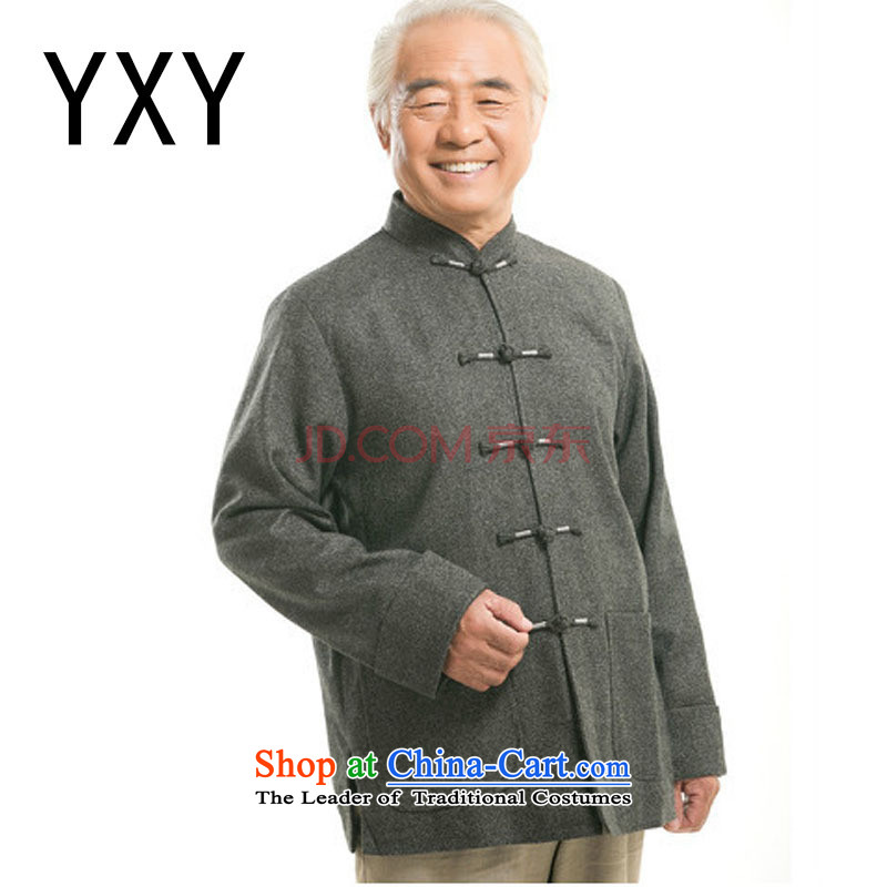 In older men long-sleeved shirt Chinese Tang dynasty older persons jacket? men?DY9821 gross?light gray?XXXL