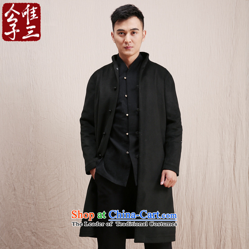 The three day model line CD-China wind wool coat male long? Chinese Tang Dynasty Recreation ethnic Tatar services winter black movement XXL