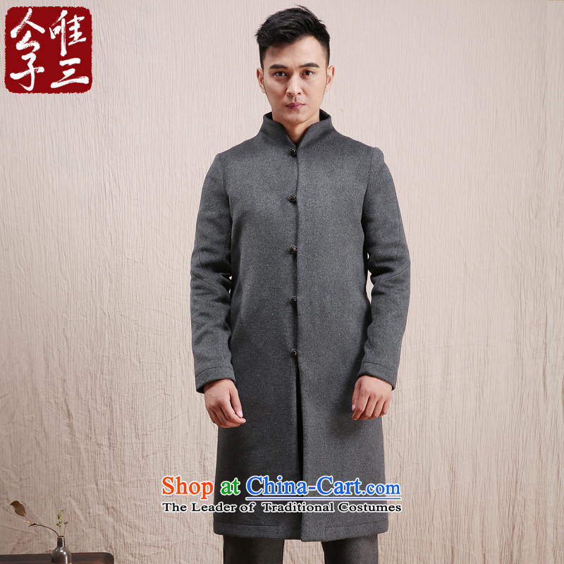 The three day model line CD-China wind wool coat male long? Chinese Tang Dynasty Recreation ethnic Tatar service in gray winter (M)