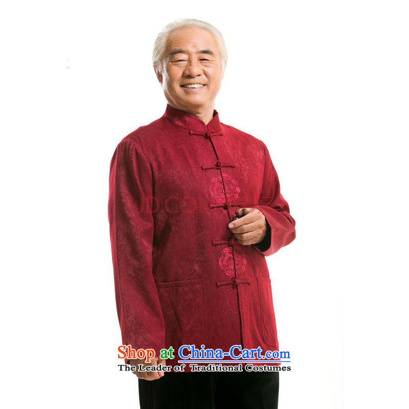 In older men long-sleeved shirt Chinese Tang dynasty聽DY727 jacket of older persons聽聽can be of deep red, L, small-mi (LOVELY BEAUTY , , , shopping on the Internet