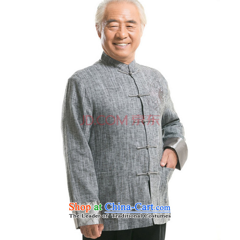In older men Tang dynasty long-sleeved sweater Fall/Winter Collections of ethnic Chinese disc loading dad detained men聽DY711 cotton linen聽light gray聽M is small-mi (LOVELY BEAUTY , , , shopping on the Internet