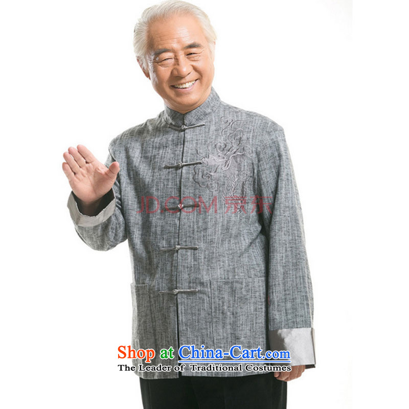 In older men Tang dynasty long-sleeved sweater Fall/Winter Collections of ethnic Chinese disc loading dad detained menDY711 cotton linenlight grayM is small-mi (LOVELY BEAUTY , , , shopping on the Internet