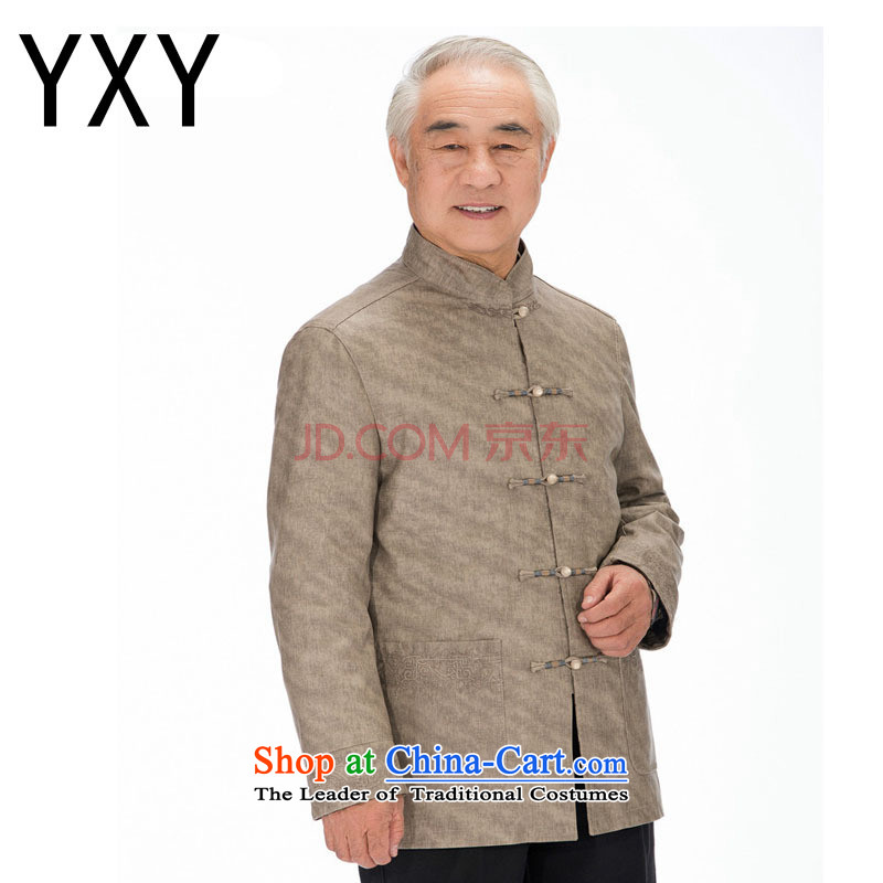 Improved grain Ma Korea Chinese men washable leather in Tang older leisure PU JACKET?DY1322?KHAKI?M