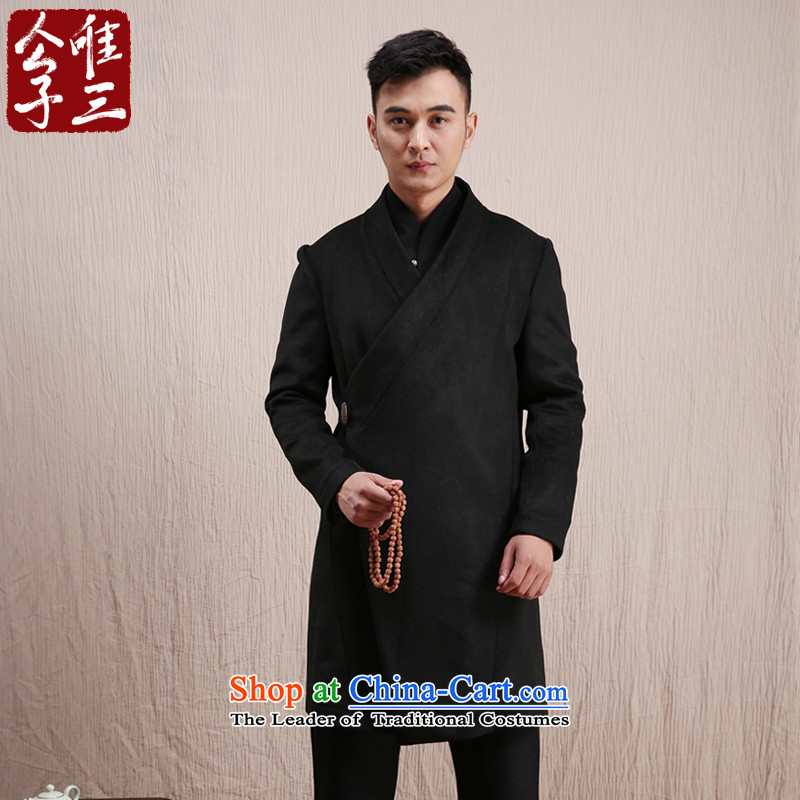Cd 3 Model Han Changfeng China wind wool coat man long, but the Chinese Tang Dynasty Recreation coats of national service in the winter Black (M)