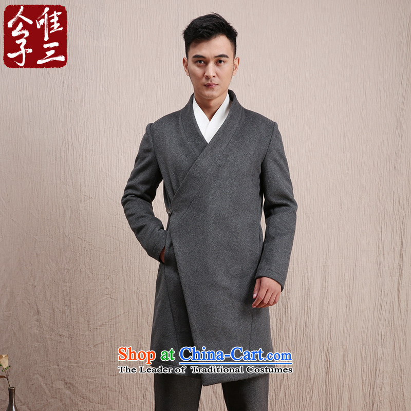 Cd 3 Model Han Changfeng China wind wool coat man long, but the Chinese Tang Dynasty Recreation coats of national services winter gray jumbo XL