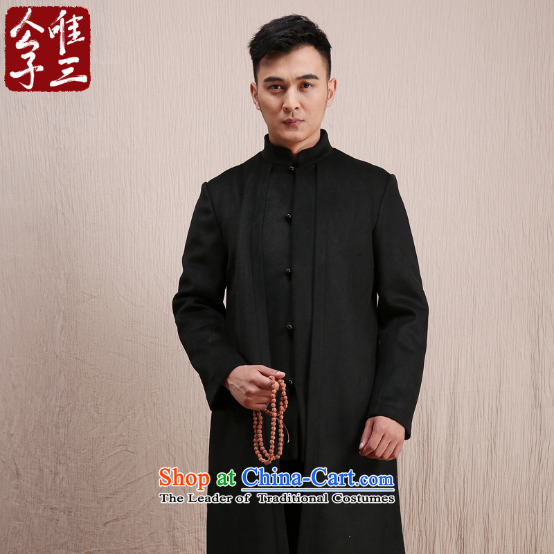 Cd 3 Yan Oi Court Model China wind wool coat man long, but the Chinese Tang Dynasty Recreation coats national costumes in winter Black (M)
