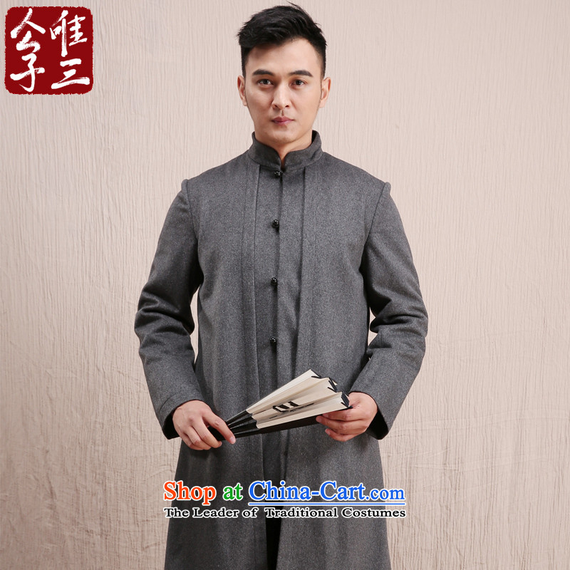 Cd 3 Yan Oi Court Model China wind wool coat man long, but the Chinese Tang Dynasty Recreation coats national costumes in gray winter (M)