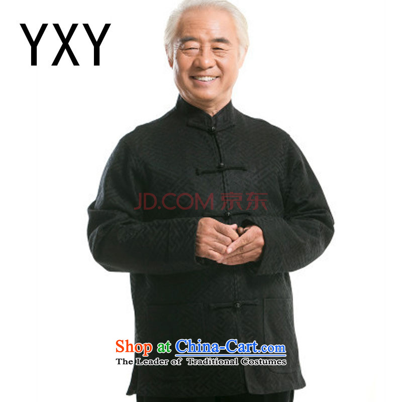 Middle-aged men fall and winter casual father in older men Tang dynasty Long-sleeve cotton Tang dynasty燚Y0770燽lack燲XL
