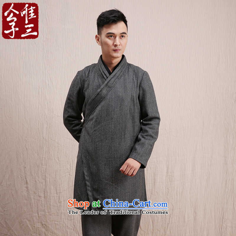 Cd 3 Model Chunghsiao China wind wool? long Han-mantle maximum use of Tang Dynasty Chinese Jacket Han-winter thick dark gray movement XXL