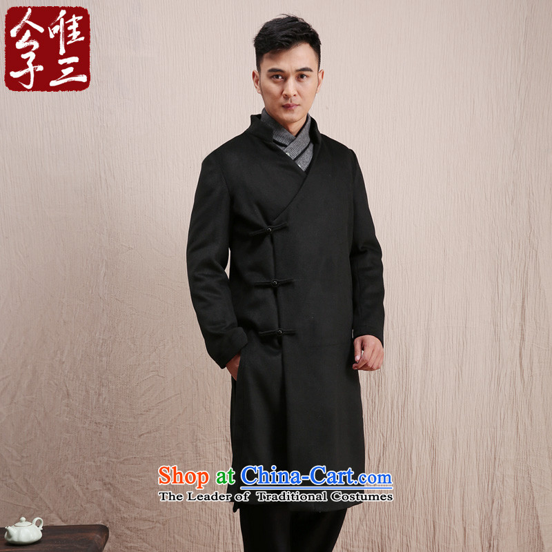 Cd 3 Model Hau Tak China wind wool coat man long, but the Chinese Tang Dynasty Recreation coats national costumes in winter Black (M)