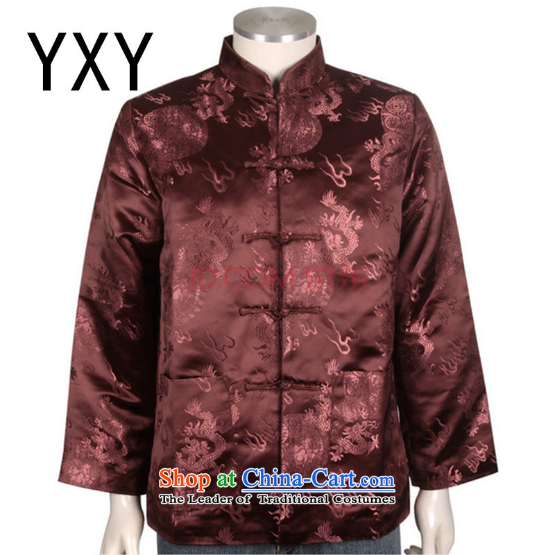The elderly in the stylish Tang blouses men's winter coats cotton Tang dynasty China?DY0708 services?red?XXL