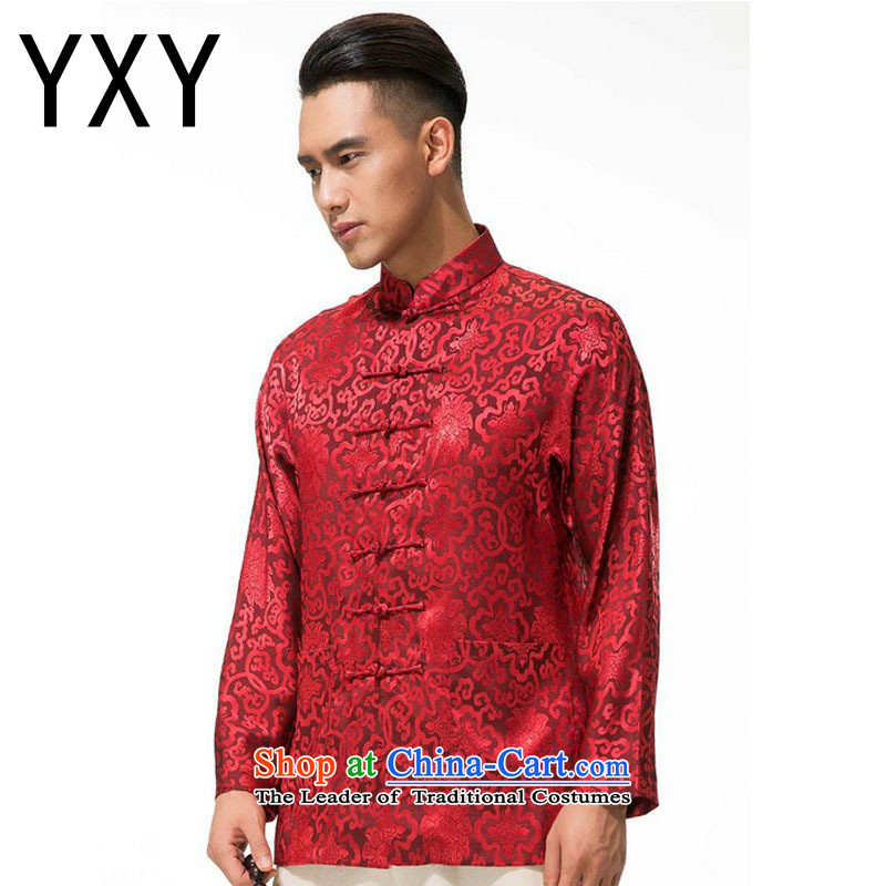 Cotton linen men's jackets and thick Tang, collar manually men long-sleeved detained disc Tang dynasty DY003 RED XL