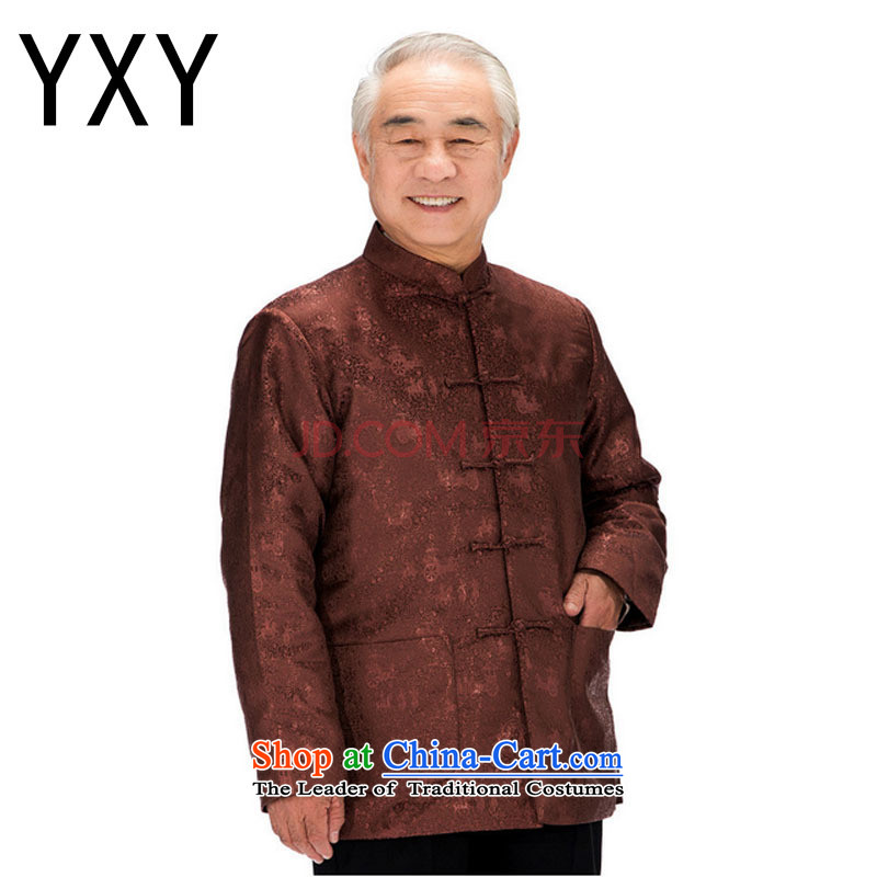 In older men wearing T-shirt genuine Chinese men's long-sleeved clothing?DY0753 cotton robe??XXXL black