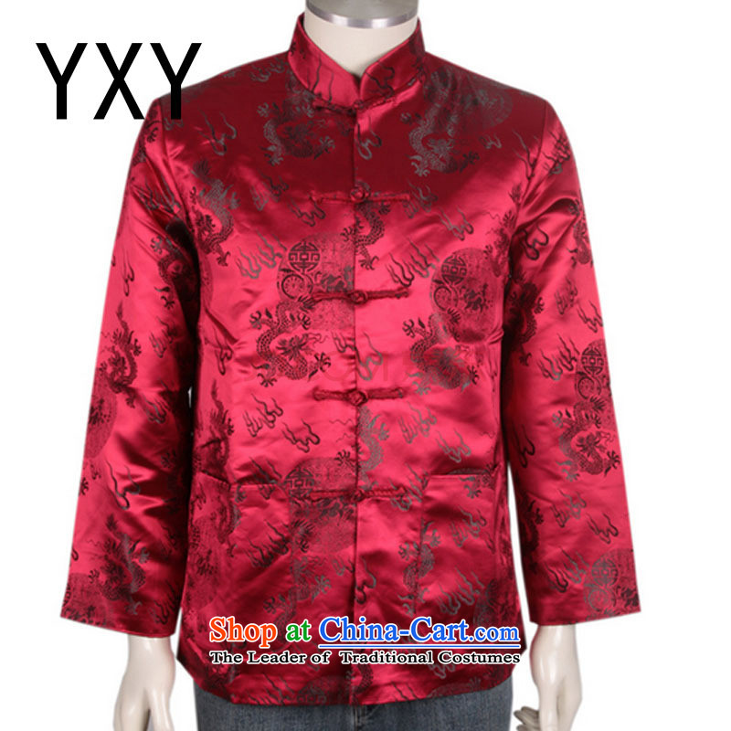 The elderly in Tang blouses men's winter coats cotton Tang dynasty China?DY0708 services?red?XL