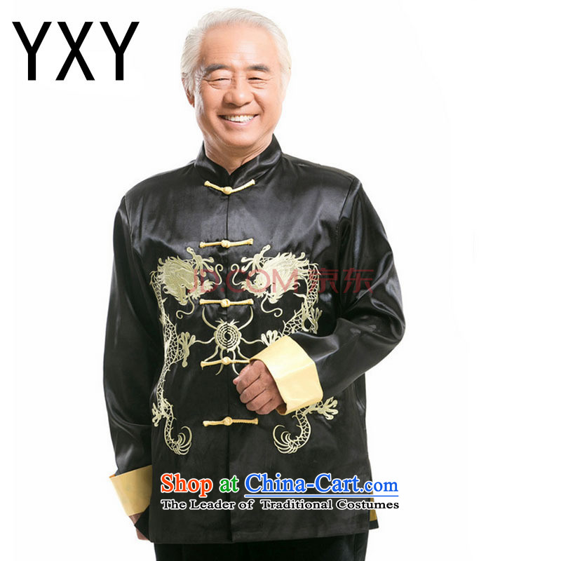 The Chinese Tang dynasty collar sheikhs wind in older Ssangyong embroidery Yong-nam will�DY004�black�L