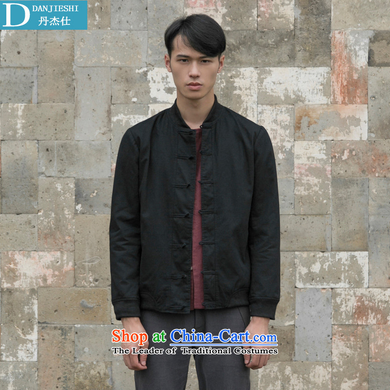 Dan Jie Shi Tang dynasty China wind retro men pure cotton pad clip black jacket�XL