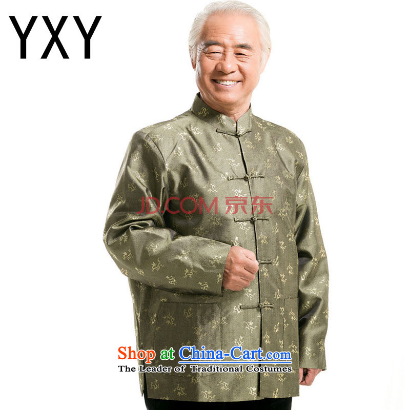 The end of the autumn and winter light Tang blouses, elderly men detained persons disc long-sleeved men�DY0777�GREEN�M