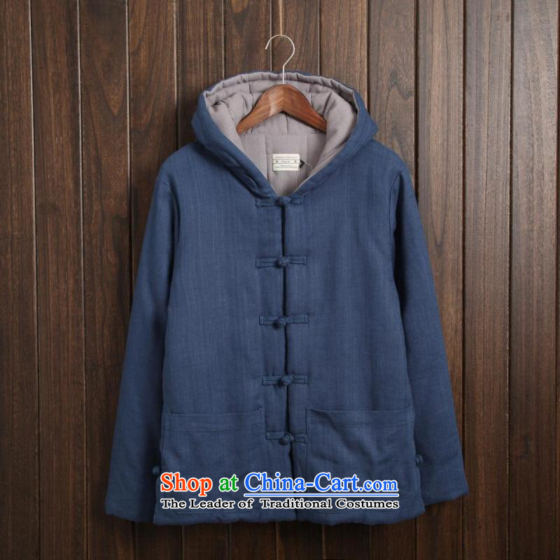 Card of the new 2015 sub-ethnic Chinese men Tang Dynasty of Korea disc deduction Coat cap cotton coat retro ethnic thick robe leisure and Peacock Blue XXL