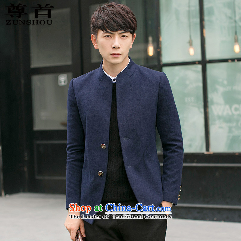 The first (ZUNSHOU extreme) 2015 autumn and winter, Tang Dynasty Chinese tunic male Korean Sau San collar jacket coat male 3306 Navy 3XL