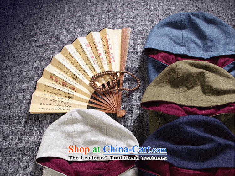 Card of the sub-2015 Men's Jackets China wind cotton linen men Tang tray clip hoodie retro national wind jacket and pale beige linen XXL picture, prices, brand platters! The elections are supplied in the national character of distribution, so action, buy now enjoy more preferential! As soon as possible.