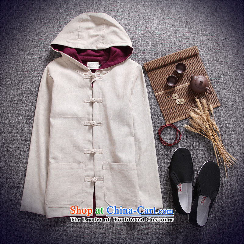 Card of the sub-2015 Men's Jackets China wind cotton linen men Tang tray clip hoodie retro national wind jacket and pale beige linen?XXL