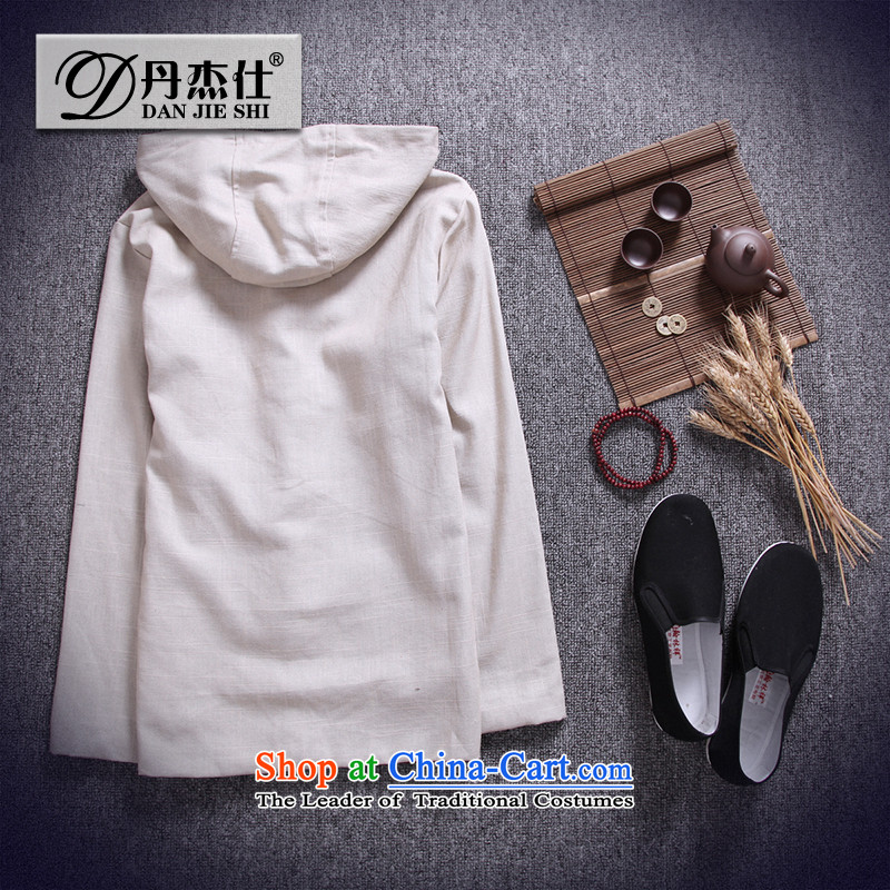 Card of the sub-2015 Men's Jackets China wind cotton linen men Tang tray clip hoodie retro national wind jacket and pale beige linen XXL, card of the MINURSO has been pressed shopping on the Internet