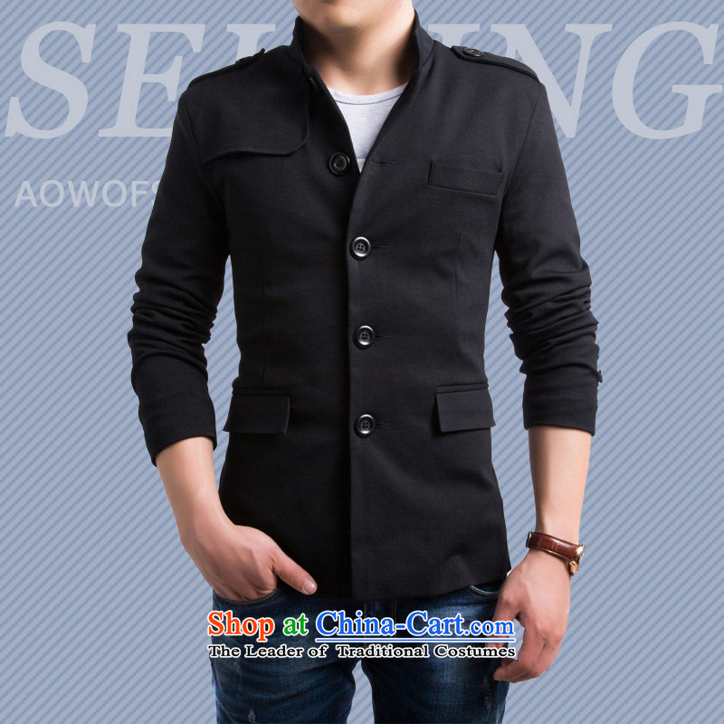 The card will 2015 sub-smart casual men fall and winter New Sau San England Men's Mock-Neck leisure suit male small black male Chinese tunic聽XXL