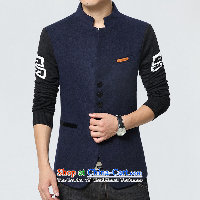 Card of the new sub-2015 Chinese tunic autumn new stylish leisure suit male students decorated with youth jacket, dark blue suit small�L