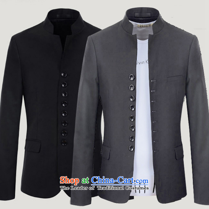 Card of the new 2015 sub-youth China wind retro-reduced Chinese tunic suit collar leisure�180/96(XL) light gray jacket