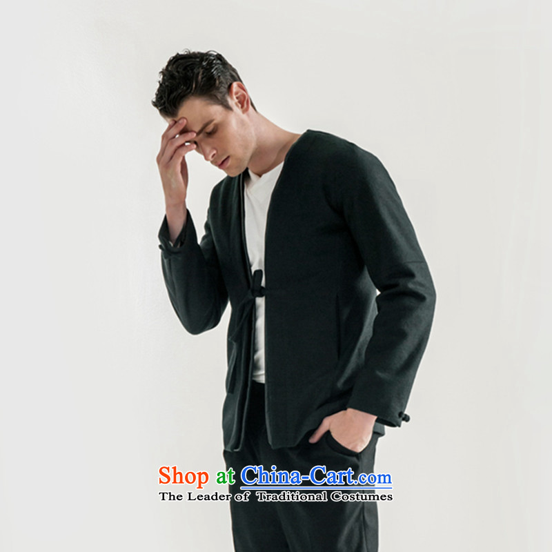 Hee-snapshot lung new men's woolen a tether strap small shirt improved retro Han-men and chinese V-Neck leisure jacket dark green�L