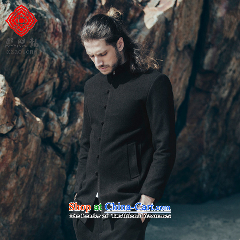 Hee-snapshot lung original China wind collar Tang dynasty men wool a wool coat Chinese improved stylish black men gentleman�L
