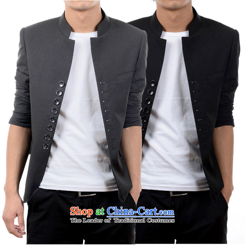 There is a on the 2015 Youth Yi fashion trend retro-man 8 Chinese tunic suit collar detained men?180/96(XL) black
