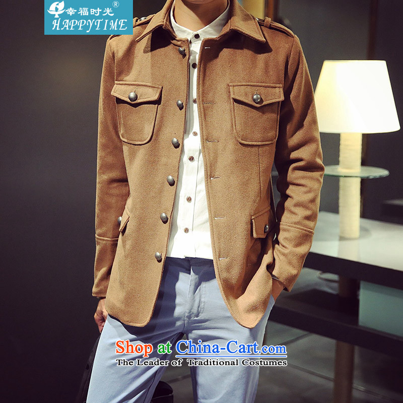 Happy Times?2015 winter men Korean short of a mock-neck jacket jacket material? windbreaker coats and dark brown hair??M