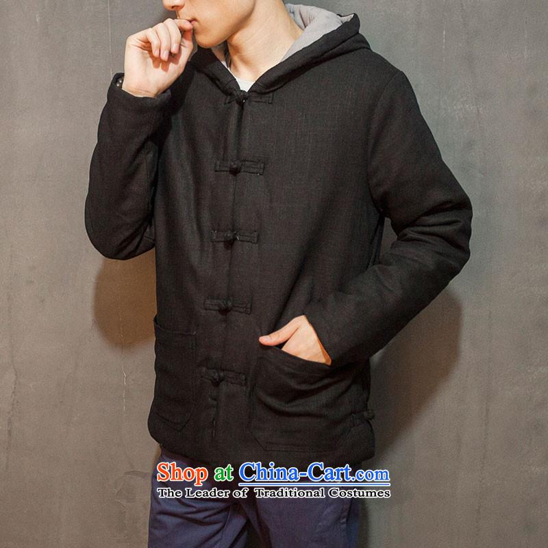 Dan Jie Shi Hua Butterfly 2015) 6051^ cotton linen china wind men detained with cap cotton pad retro ethnic thick robe Han-pale beigeXL, Dan Jie Shi (DANG JIE SHI) , , , shopping on the Internet