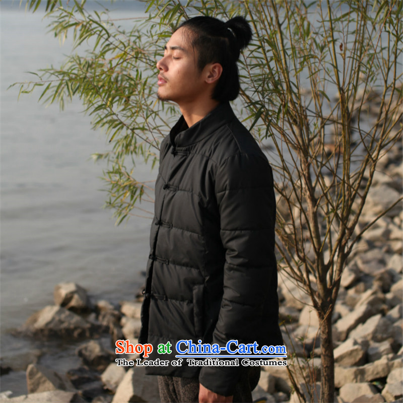 Dan Jie Shi Hua 2015_ 6052^ butterfly retro China wind cotton coat collar leather garments robe Fall_Winter Collections men 茫镁貌芒 male Sau San winter coats of nostalgia for the black聽M