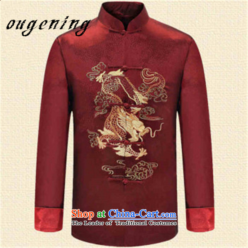 The OSCE, 2015 autumn and winter lemonade new men of older persons in the Tang dynasty long-sleeved ball-middle-aged men Chinese clothing Han-large grandfather collar jacket RED聽M