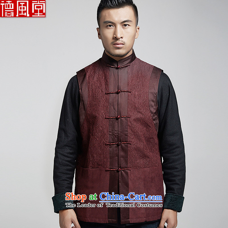Fudo de Tang dynasty upscale2 macro men of Chinese cotton vest folder embroidery stitching wire-wound China wind special wine red?2XL