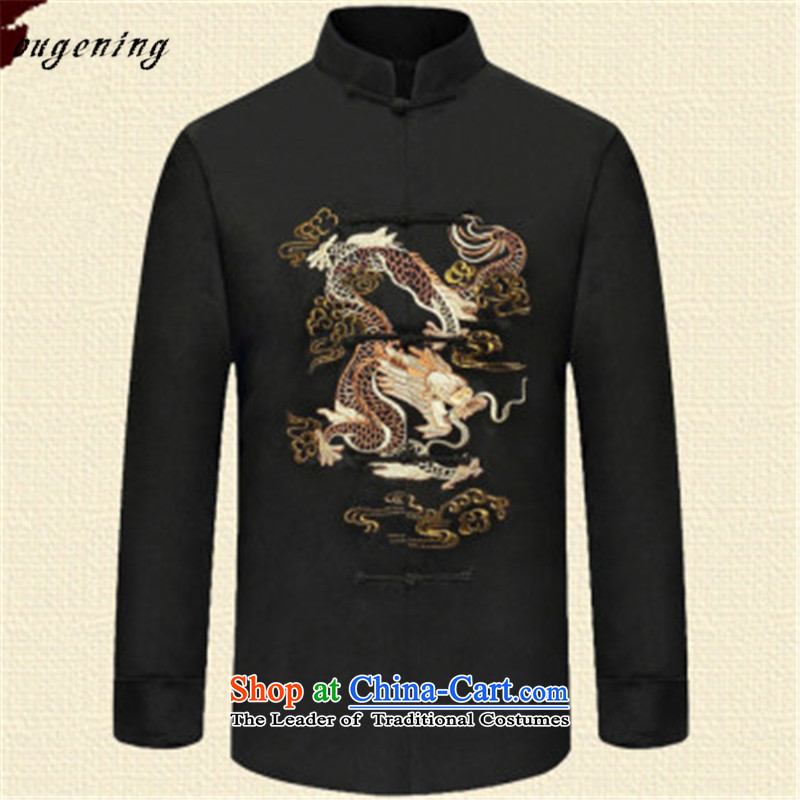The OSCE, 2015 winter new lemonade China wind in older Men's Mock-Neck long-sleeved ball mount male Dad served dragon embroidered retro-clip Han-jacket?XXXL black