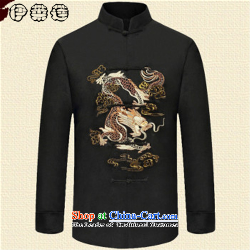 Hirlet Ephraim?2015 autumn and winter, older persons in the retro men Tang dynasty long-sleeved ball-middle-aged men Chinese clothing Han-ethnic grandfather jacket black?L
