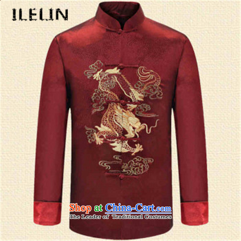 Ilelin2015 autumn and winter in two new older men Tang dynasty long-sleeved clothing middle-aged men's ball-chinese collar Han-grandfather?XXXL Red Jacket