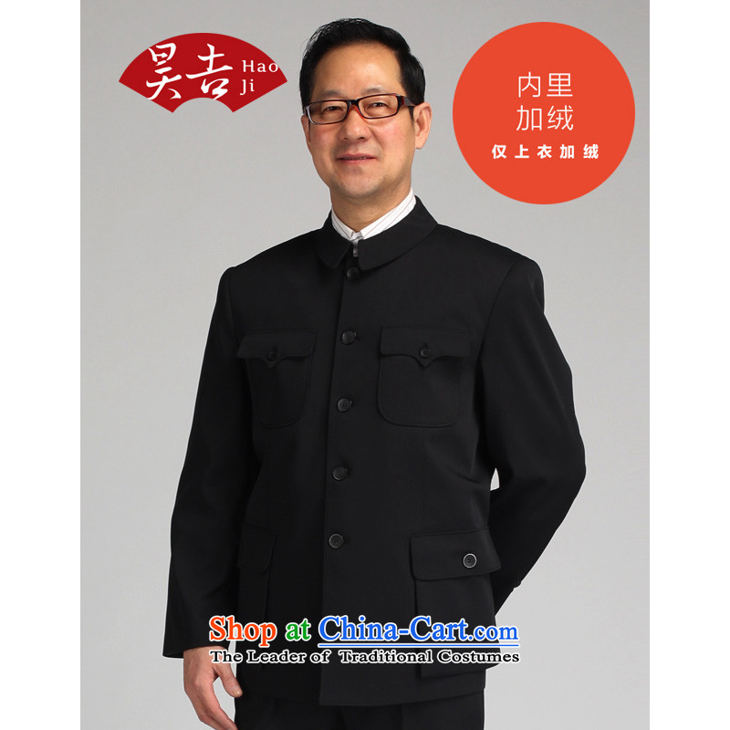 In spring and autumn, ho older men Chinese tunic kit installed father of older persons men Zhongshan service Tang Jacket _black velvet 76_180__