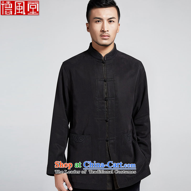 Fudo Wing Tak de traditional collar improved men long-sleeved Tang Gown robe embroidered jacket 2015 Winter Leisure China wind men Black燲L