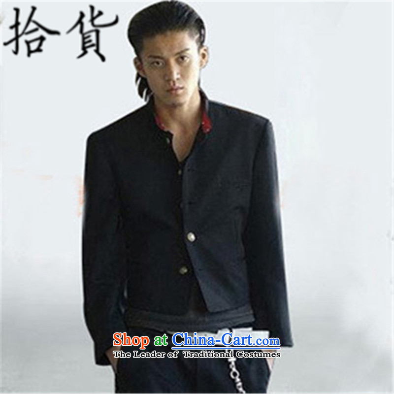 Pick the 2015 autumn and winter new blood of the colleges and universities at the suit of small school uniform Oguri Syun Source Analysis of Chinese tunic suit short retro leisure suit male black�L