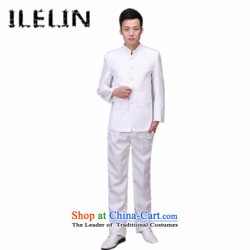 Ilelin2015 autumn and winter 1919 youth with the new Republic of Korea wind male student graduated from Chinese tunic pure color quarter of school uniforms choral concert retro-White燤