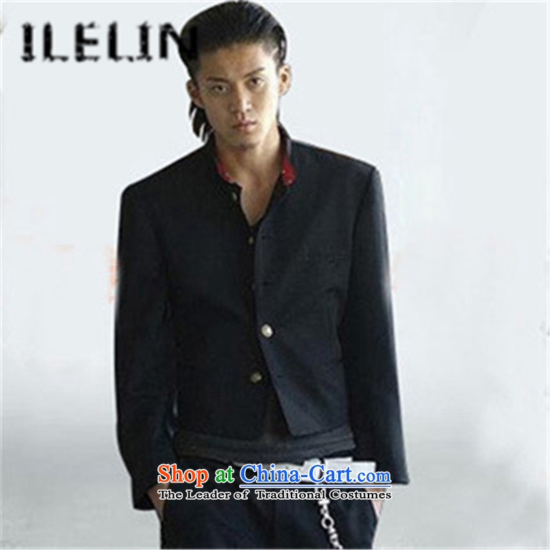 Ilelin2015 autumn and winter new blood of the colleges and universities at the suit of small school Oguri Syun source of short, Retro Chinese tunic suit male black?M